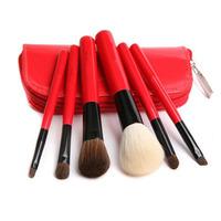 Pensel sæt med 6 pensler/børster - Rød (rejsesæt)