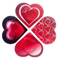 4 stk. kondomer i hjerte folie